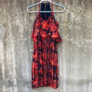 ASOS Red and Navy Floral Pleated Dress